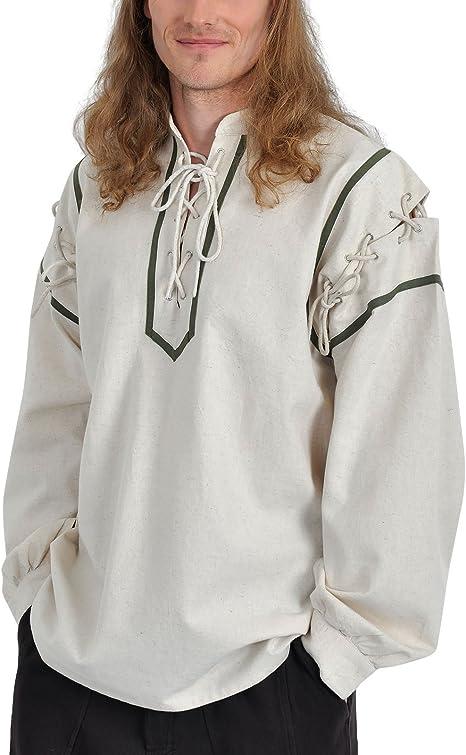 Medieval Camisa Squire Lino y Algodón de cordones con Stand ...