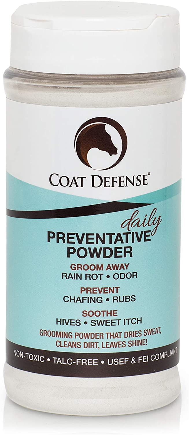 Coat Defense Daily Preventative Powder for Horses - Safe & Effective Equine Sweet Itch, Skin Funk, Scratches, & Rain Rot Treatment - Dry Shampoo for Horses, 16 oz Formula with All Natural Ingredients