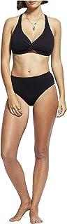 SEAFOLLY Women's Standard F Cup Wrap Front Bikini Top Swimsuit, Seafolly Black, 6