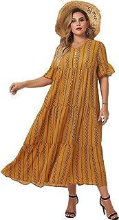 MAI&FUN Dress for Women Floral Plus Size Loose Casual Short Sleeve Maxi Dress