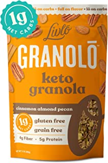 Livlo Keto Nut Granola Cereal - 1g Net Carbs - Grain Free & Gluten Free - Perfect Keto Friendly Low Carb Healthy Snack - Paleo & Diabetic Friendly Food - Cinnamon Almond Pecan, 11oz
