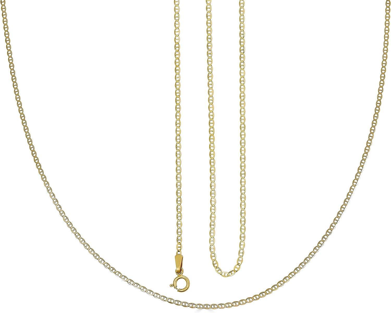Vesa Jewels 14k Gold Mariner Link Chain Necklace 1.5MM Pure 14 Karat Gold Necklace, 16''-30'' Men Women Unisex Teens 14k Mariner Link Chain Necklace