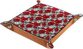 FCZ Magnifique plateau de rangement en cuir avec motif coquelicots rouges - 20 x 20 cm