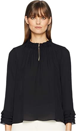 Long Sleeve Georgette Ruffle Top