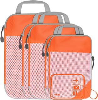 ANRUI Compression Packing Cubes for Travel, Expandable Storage Mesh Bags Luggage Organizers Accessories with Clear Toiletry Bags