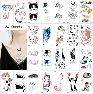24Sheets Cat Series Temporary Tattoos, 58 PCSCute Kitty Cat Fake Tattoo Stickers Waterproof Cover Up Body Art Decal for Girls Women Kids