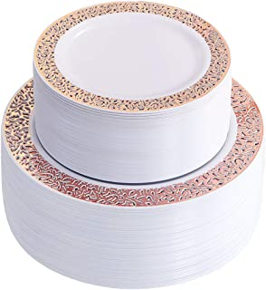 IOOOOO 120 Pieces Rose Gold Plastic Plates, White Disposable Plates with Lace Design Includes: 60 Dinner Plates 10.25 Inch and 60 Salad/Dessert Plates 7.5 Inch