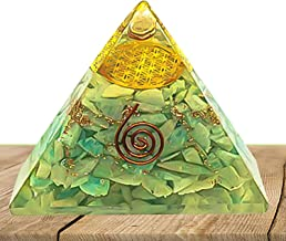 PYOR Amazonite Orgone Pyramid with Metal Flower of Life Symbol Crystal Healing Reiki Energy Generator Chakra Balancing Home Decor Size 3-3.5 inch