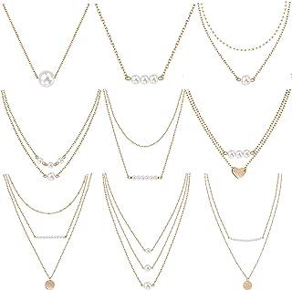 3d5b8c4812ad meekoo 9 Unidades de Collar de Gargantilla de Perlas en Capas Colgante Mini Perlas  Collar para