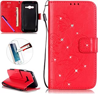 Samsung Galaxy Ace 4 Case, ISADENSER Butterfly Embossed PU Leather Case Bling Glitter Flip Wallet Stand Case with Card Slots for Galaxy Ace 4 (G313H) + 1pcs Screen Protector Diamonds Red
