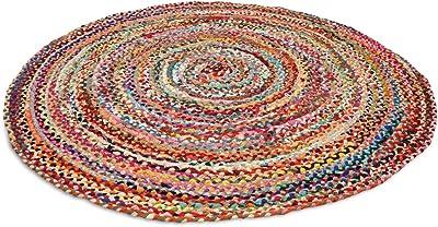 Hand Braided Round Rug Meditation Mat Mandala Carpet Bohemian Decor Colourful Area Rugs (5FT)