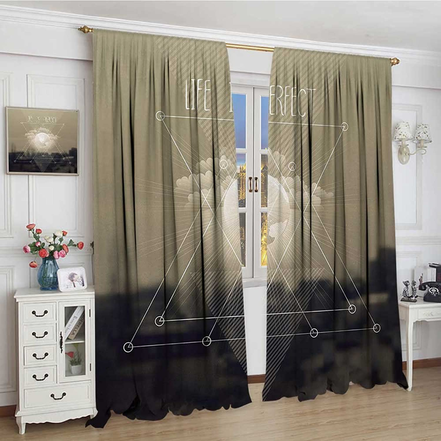 Smallbeefly Indie Waterproof Curtain Widened Life is Perfect Inspirational Geometric Triangles Cityscape Clouds Earth Lengthened Decor Curtains by 120 x108  Tan Dark Taupe White