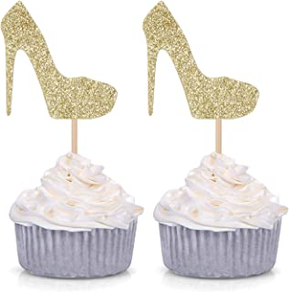 Pack of 24 Gold Glitter High Heel Cupcake Toppers for Wedding Engagement Bridal Shower Party Stiletto Pump Decorations