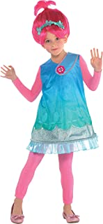 Costumes USA Trolls Poppy Costume for Girls, Size Small, Includes a Dress, a Bright Pink Wig, and Matching Pink Tights