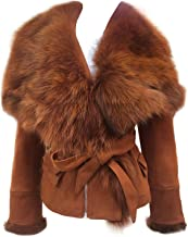 She'sModa Luxury Faux Suede Real Fox Fur Collar Jacket with Belt Slim Fit Women's Winter Short Coat