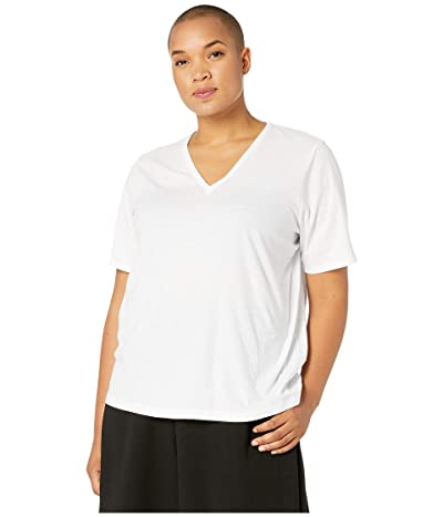 Eileen Fisher Plus Size Organic Cotton Jersey V-Neck Short Sleeve Top (White) Women