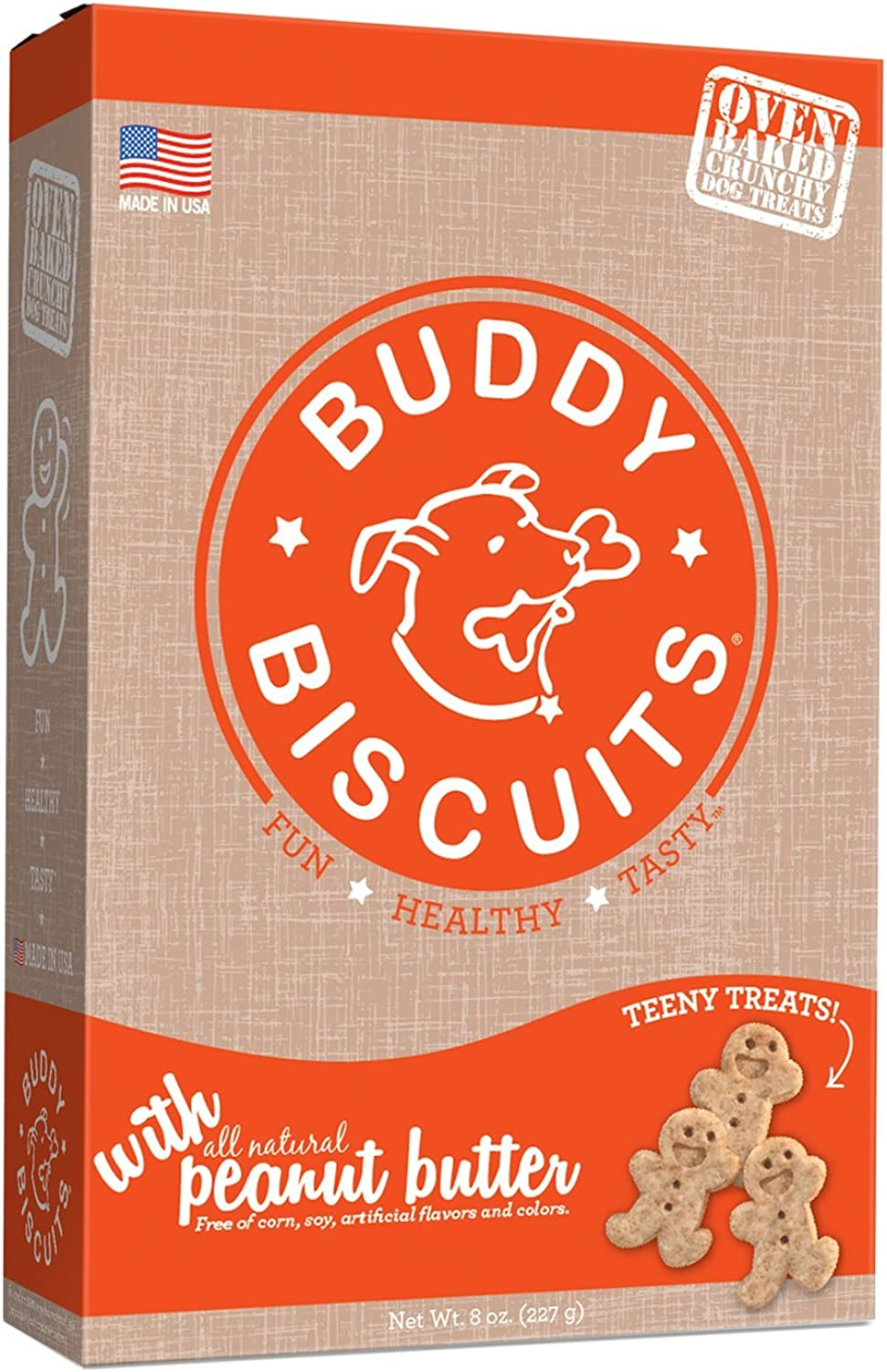 Cloud Star Itty Bitty Buddy Biscuits Dog Treats, Peanut Butter, 8Ounce Boxes (Pack Of 6)