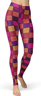 sissycos Women`s Checkered Plaid Printed Leggings Stretchy Brushed Buttery Soft Tights