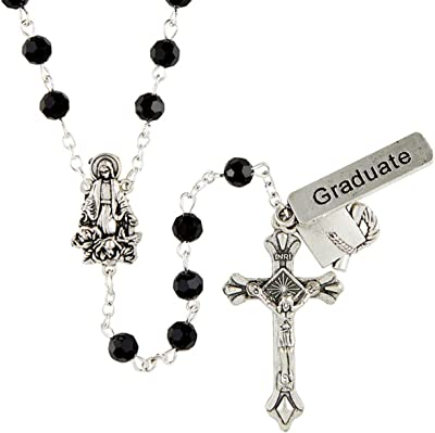 Catholic Rosary Beads with Silver Tone Our Lady of Grace Centerpiece, Graduation Cap and Jet Black Beading, Religious Graduate Gifts for Teenage Boys and Girls, 20 Inches