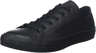 Converse Womens Unisex-Adult Chuck Taylor All Star Leather Low Top Black Size: