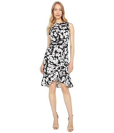 Calvin Klein Floral Print Dress with Self Tie Belt Women