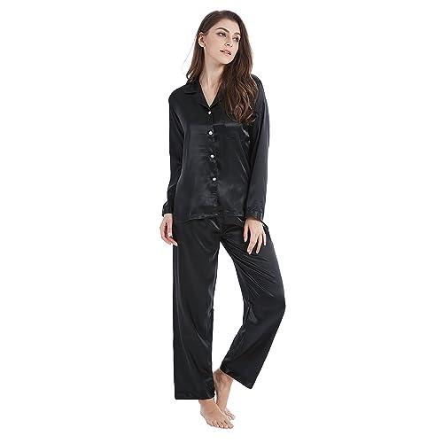 b8cc31bdea69 Tony   Candice Women s Classic Satin Pajama Set Sleepwear Loungewear