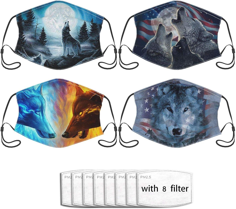 4pcs Funny Face Mask,Comfortable Balaclavas Reusable Bandana Adjustable Scarf for Adult (with 8 Filters)