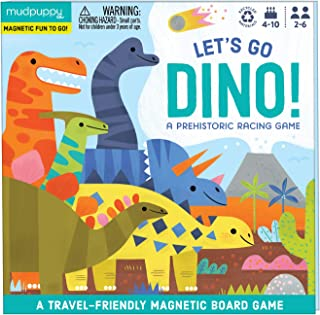 Mudpuppy Let's Go, Dinos! Magnetic Board Game – Colorful Racing Game for Kids Ages 5-10, 2-6 Players – Compact & Magnetic ...