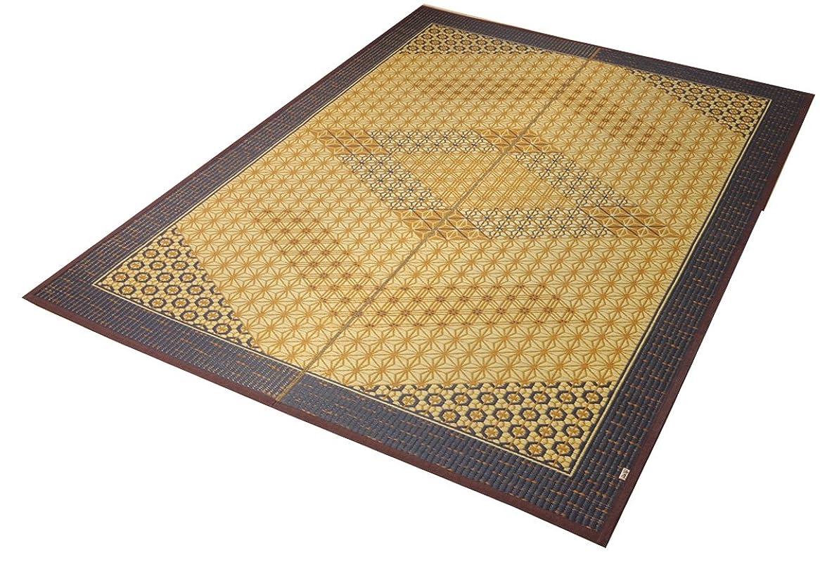 かわすステートメント雪だるまを作るイケヒコ い草ラグ 国産 日本製 ラグ カーペット 2畳 正方形 『DX組子』 ブラウン 約191×191cm (裏:不織布)?1715320