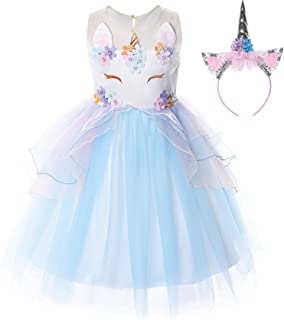 Flower Girls Unicorn Costume Pageant Princess Party Dress