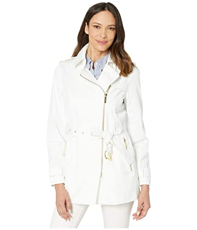MICHAEL Michael Kors Zip Front Trench (White) Women