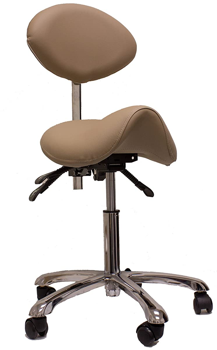 Spa Luxe Rolling Stool with Back Support for Beauty, Exam, Office and Home (CLAY)