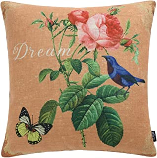 TRENDIN Vintage Flower and Bird Butterfly Style Cotton Linen Square Decor Throw Pillow Covers, 18 x 18 Inches PL225TR