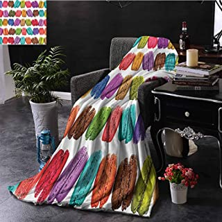 Luoiaax Colorful Home Decor Children's Blanket French Macarons in a Row Coffee Shop Cookies Flavours Pastry Bakery Design Lightweight Soft Warm and Comfortable W91 x L60 Inch Multi