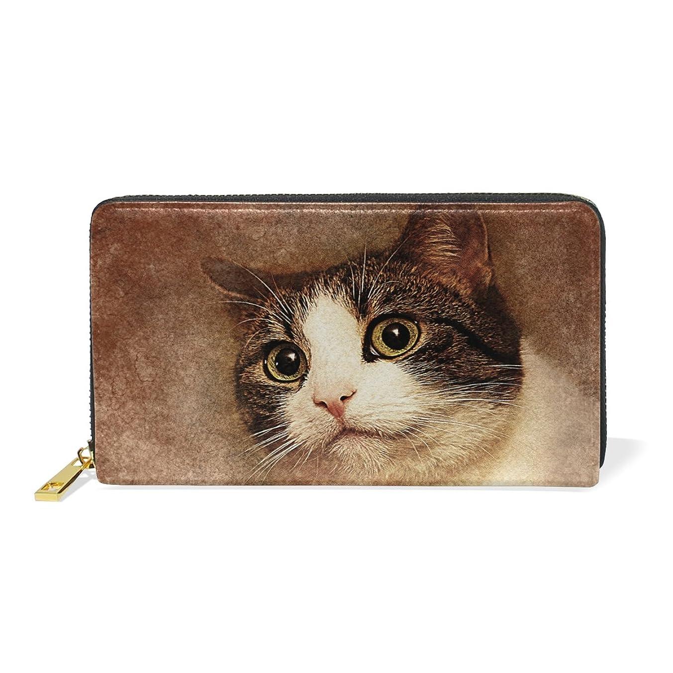 ピルしたがってコンパニオンマキク(MAKIKU) 長財布 レディース 本革 おしゃれ 大容量 ラウンドファスナー カード12枚収納 プレゼント対応 かわいい 猫柄