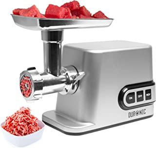 Duronic Electric Meat Grinder and Mincer MG301 | Burger, Sausage, Mince and Kibbe Maker | Powerful Motor: 3000W Max | SILVER | 7 Attachments Included to Grind a Variety of Poultry, Meat & Vegetables