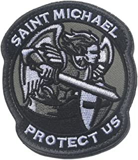 Saint Michael Modern Morale Patch Tactical Military Army Embroidered Sew on Tags Operator Patches with Hook and Loop Fasteners Backing-Multitan (Black)