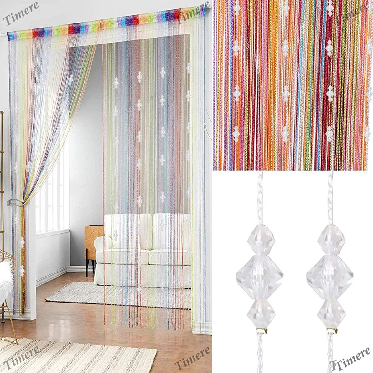Timere Crystal Beaded Curtain Tassel Curtain - Partition Door Curtain Beaded String Curtain Door Screen Panel Home Decor Divider Crystal Tassel Screen 90x200cm (Rainbow#)