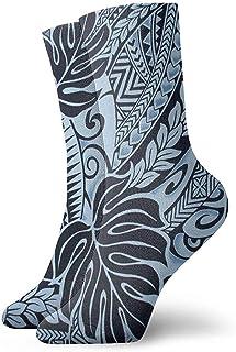Dydan Tne, Diseños de Tapa de Tatuaje polinesio en Calcetines de Vestir Azules Calcetines Divertidos Calcetines Locos Calcetines Casuales para niñas Niños