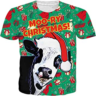 Men`s Short Sleeve Ugly Christmas T-Shirts Funny Gifts Cow Santa Hat Xmas Shirt Festival Holiday Party Casual Graphic Green Tees Cute Summer Tops Clothing