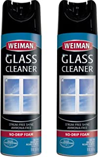 Weiman Glass Cleaner - 19 Ounce (2 Pack) - Non-Toxic Professional Streak-Less foaming No Drip Removes Grease Dissolves Fin...
