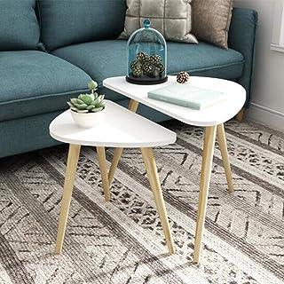 طاولات عالية الجودة لتزيين أثاثية عصرية على شكل قهوة من جانب مستدير لغرفة المعيشة والمنزل والمكتب مجموعة من قطعتين