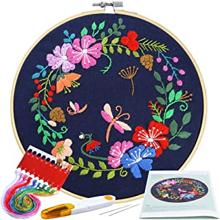 Pllieay Full Range Embroidery Starter Kit with Pattern and Instructions Including Embroidery Cloth with Botanical Garden P...