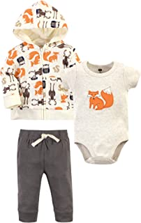 Hudson Baby Unisex Cotton Hoodie, Bodysuit/Tee Top and Pant