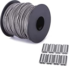 Ubilink 167FT(50M) Picture Hanging Wire 1.5MM Up to 150lbs Stainless Steel Wire with Spool for Picture Frame Mirror Painting Hanging Objects with 20Pcs Aluminum Sleeve