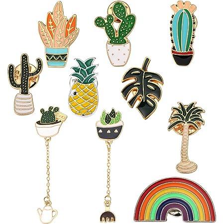 Conjunto de 10 Broches Encantador de Dibujo Animados Incluyendo Broche de Piña Broche de Arco Iris Broche de Hojas de Simulación de Palmeras Tropicales Broche de Cactus para Disfraz Bolso Mochila Chaq