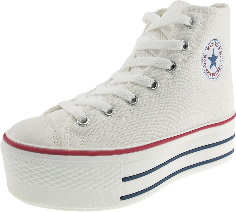 Maxstar High-top Zipper Platform Canvas Sneakers shoes White 9.5 B(M) US Womens