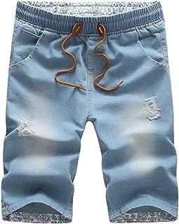 b478bc22358b Frozac 2018 New Mens Jeans Cotton Shorts Thin Breathable Denim Shorts Men  Loose Lace-up