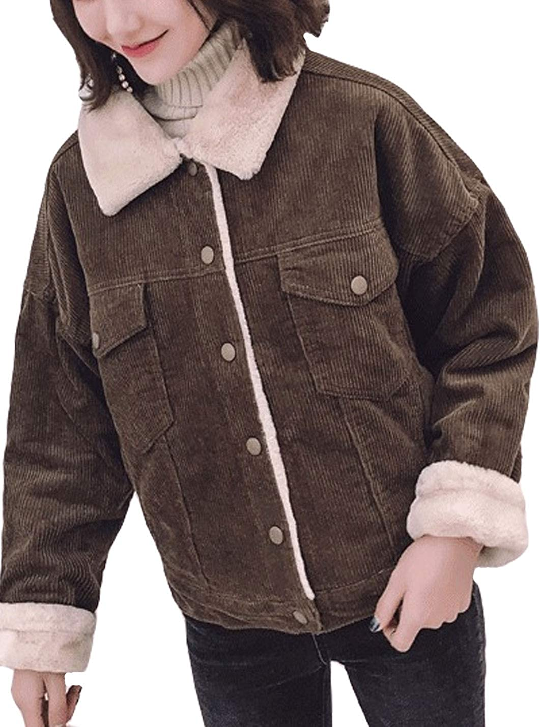 Bankeng Women's Winter Thickened Warm Quilted Jacket Corduroy Sherpa Fleece Lined Jacket