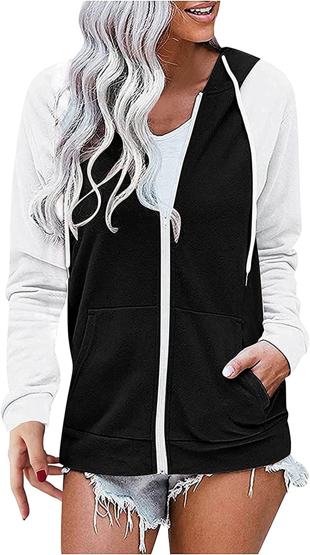 Women Color Block Long-sleeved Hooded Weatshirt Drawstring Pocket Zipper Coat Raincoat